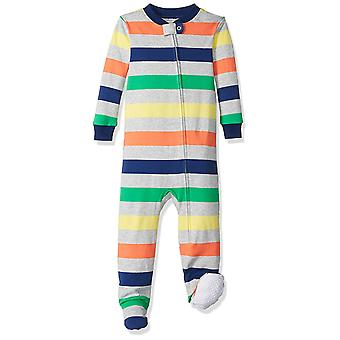 Essentials Baby Boys zip-front footed sovekabine, Multi Stribe Hvid, 12-...