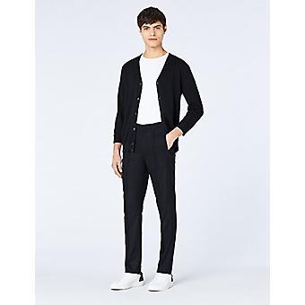 MERAKI Men's Lightweight Cotton V Neck Cardigan Sweater, (Preto), X-Small