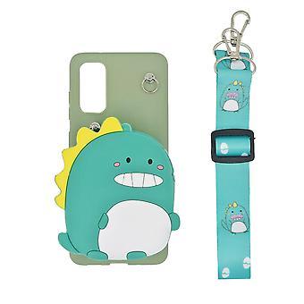 3D mobile Shell Samsung Galaxy S20, eingebaute Brieftasche - Dinosaurier, grün