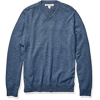 Essentials Men's V-Neck Sweater, Navy Marled Small