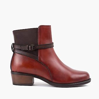 Cheryl mahogany leather ankle boot