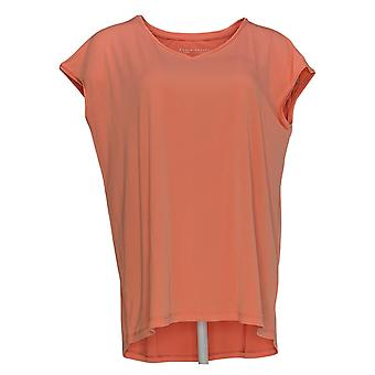 Susan Graver Women's Top Extended Sleeve Liquid Knit Coral Orange A350187