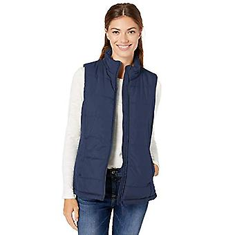 Essentials Womenăs Mid-Weight Puffer Vest, Navy, Large