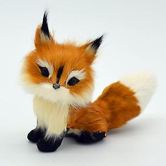 Home Stuffed Animal Simulation Fox Model- Mini Squatting Birthday Soft Lovely