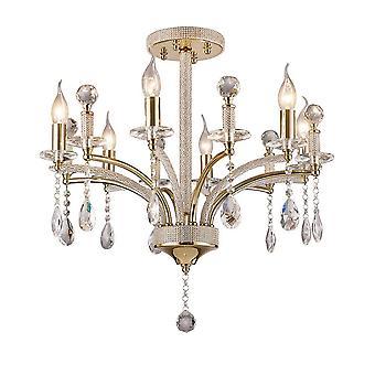 inspirert diyas - fiore - semi flush tak anheng 6 lys fransk gull, krystall