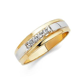 14k Yellow Gold and White Gold CZ Cubic Zirconia Simulated Diamond Mens Wedding Band Ring Size 10 Jewelry Gifts for Men