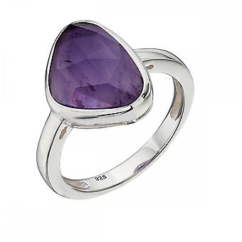 Elements Silver Silver Plate Amethyst Old Rose Cut Ring R3682M