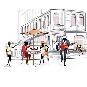 Foto Wandmalerei Skizze Stil Altstadt s