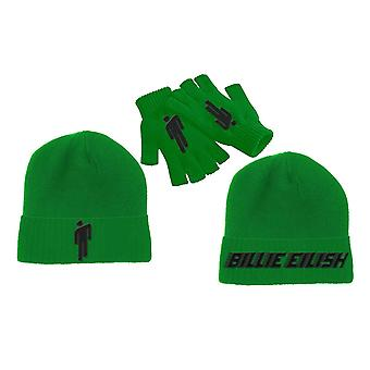Billie Eilish Beanie Hat and glove set Blohsh Logo new Official Green Unisex
