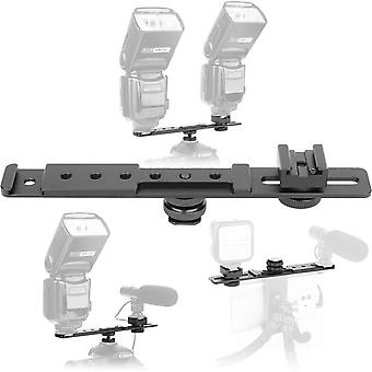 "Chromlives 8"" cold shoe extension bar flash straight bracket camera dual mount flash bracket fits ni"