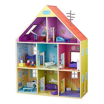 Peppa pig co07004 casa de jogo de madeira, multicolorido