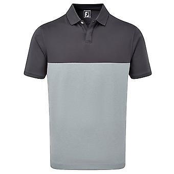 Footjoy Mens Stretch Lisle Engineered Colour Block Wicking Golf Polo Shirt