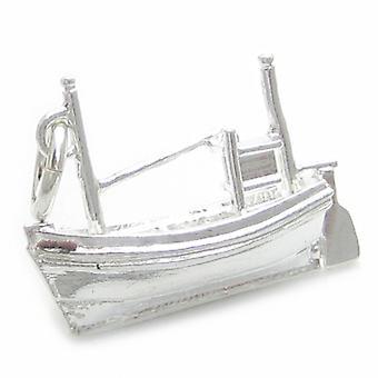 Fischerboot Sterling Silber Charm .925 X 1 Fischerboote Charms - 4511
