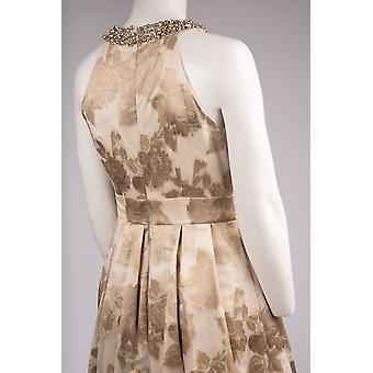 Verzierte Jacquard Neckholder Kleid