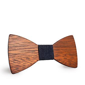 Mahoosive Gravata Plaid Wood Wooden Bow Tie Wedding Necktie