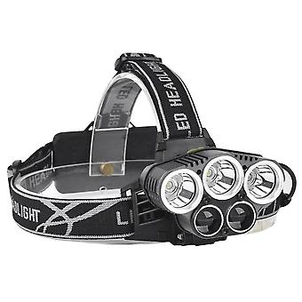 XANES 2309-B Bicycle Headlight 5 Switch Modes T6+2XPE Blue Light Outdoor Sports HeadLamp