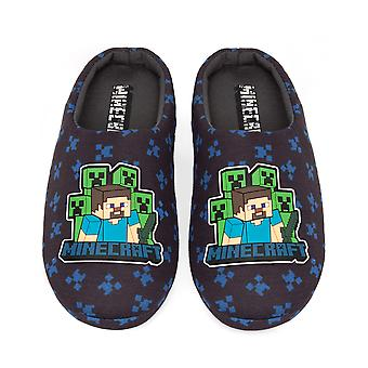 Minecraft Slippers Boys Surrounded Blue Steve Creeper Sword House Shoes