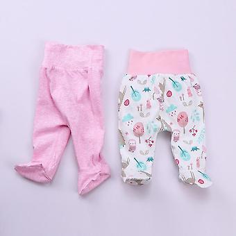 Nyfödda baby leggings hög midja byxor sovande pyjamas