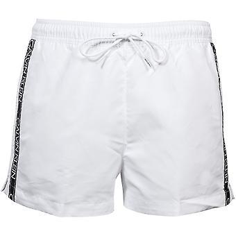 Calvin Klein Logo Tape Athletic-Cut Swim Shorts, White