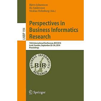 Perspectives in Business Informatics Research - 13e Internationale Con