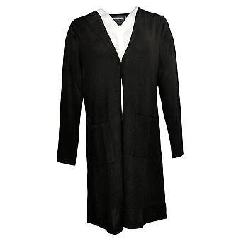 Nina Leonard Women's Sweater Dolce Knit Duster Cardigan Black 703879