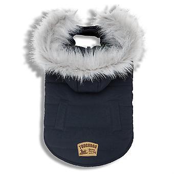 Touchdog 'Eskimo-Swag' Duck-Down Parka Dog Coat- Large/Navy