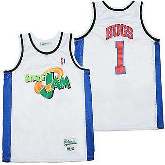 Men's Space Jam #1 Bugs Bunny Sports Basketball Jersey For Mens T Shirt S-xxl,fashion 90s Hip Hop Clothing For Party, Stitched Letters And Numbers