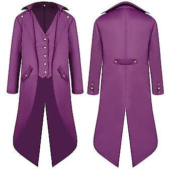 Purple s men middle ages ancient swallowtail coat long dress tailcoat cai1098