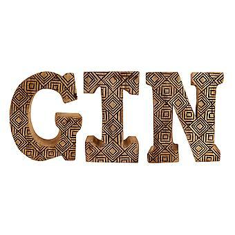 Lettere geometriche in legno intagliate a mano Gin