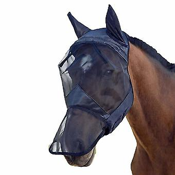 Horse Fly Protection Mask Mesh Horse Head Cover Fly Mask With Ears Horse Equipment(L)