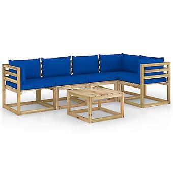 vidaXL 6 pcs. Garden Lounge Set with Cushion Impregnated Pine Wood