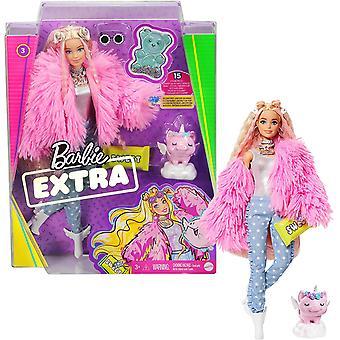 Barbie ekstra dukke i rosa fluffy frakk med enhjørning-gris leketøy