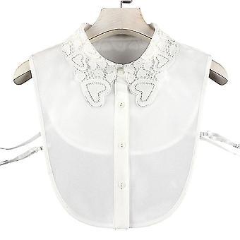 Anti Crease Halb Shirts Stickerei falsche Kragen Herz hohl abnehmbare Bluse