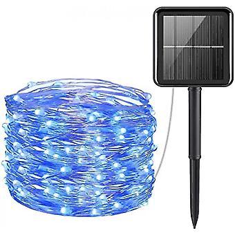 Mini 33feet 100 Led Copper Wire Lights, Waterproof Solar Decoration Lights(Blue)