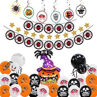 Halloween pumpkin skull balloon decoration set ghost festival bat tassel spider halloween balloon