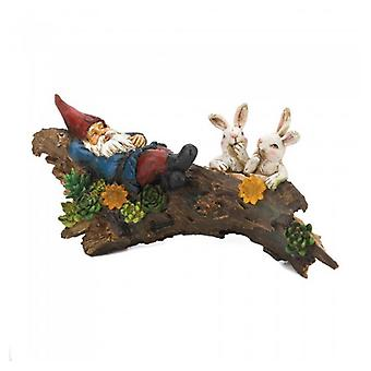 Summerfield Terrace Sleeping Gnome with Rabbits Solar Light-Up Garden Decor, Pack of 1