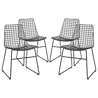 4x Filo metallico Sedie da pranzo Scrivania industriale Mobili Accent Chair Nero