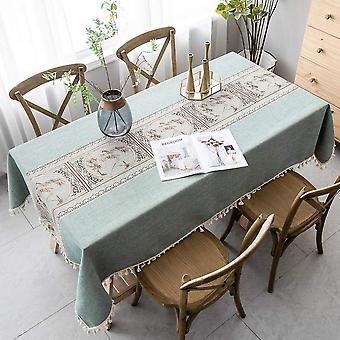 Elegante chinesische Stil bedruckte Tischdecken Gespleißte staubdichte Tischdecken Rechteckige Tischdecken Garten Tee Tisch Dekorationen (140 * 140cm, Grün)