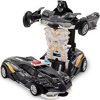 ツーインワン変形ロボットキット 12-13cm ワンステップ 変形トイカーモデル 子供のおもちゃの誕生日ギフト-d