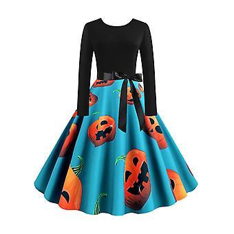 Femme Halloween Costume Imprimé Party Retro Swing Hepburn Robe
