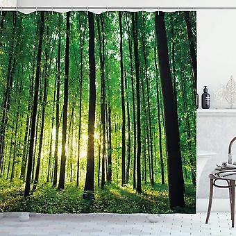 Forest Shower Curtain, Green Woodland Sunrise, Fabric Bathroom Decoration Set With Hooks Black, Green 180x180cm