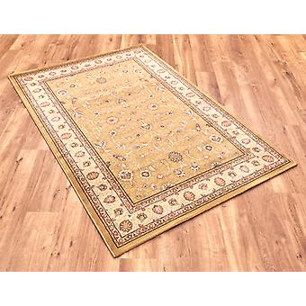 Noble Art 6529-790 Gold centre with ivory border and viscose accents . Circle Rugs Traditional Rugs