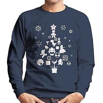 Super Mario Bros Christmas Tree Silhouette White Men's Sweatshirt