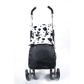 Genesis Universal Showerproof vaca impressão & preto agasalho de lã forrado Buggy forro à prova de vento Cosytoes