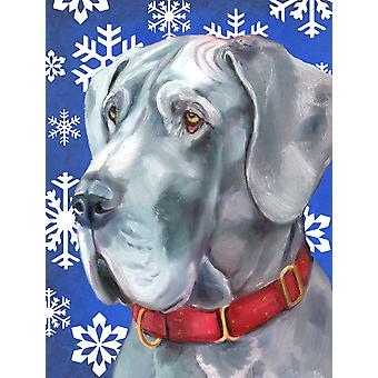Great Dane Winter Snowflakes Holiday Flag Canvas House Size