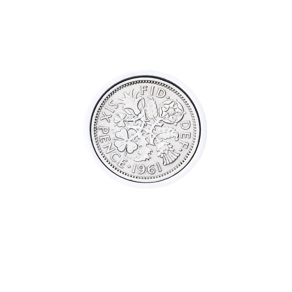 Genuine Polished 1961 Sixpence in Lapel Pin | 1961 anniversary, 58th birthday