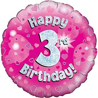 Октри 18-дюймовый счастливым третий день рождения розовый голографической шар