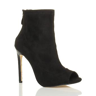 Ajvani dame høj hæl peep toe zip ankel støvler støvletter sandaler