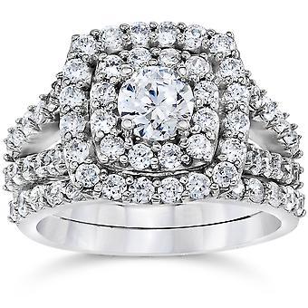 2 Cttw Diamant Kissen Doppel Halo Engagement Trauring Set 10k Weißgold