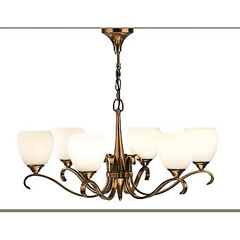 Interiors 1900 63438 Columbia 6 Light Ceiling Fitting In Antique Brass